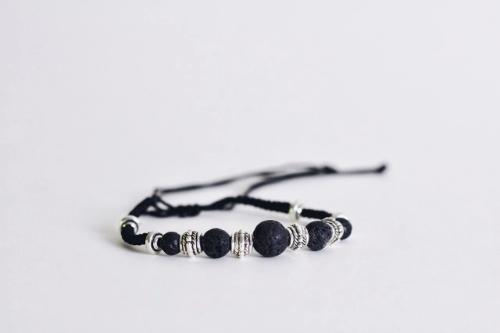 Aromatherapy Bracelet - Corded with Black Lava Stones -  - Wyndmere Naturals