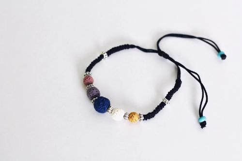 Aromatherapy Bracelet - Corded with Multi-Colored Lava Stones -  - Wyndmere Naturals