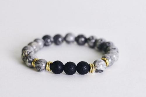 Aromatherapy Bracelet - Gray with Lava Stones -  - Wyndmere Naturals