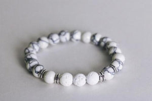 Aromatherapy Bracelet - White with Lava Stones -  - Wyndmere Naturals