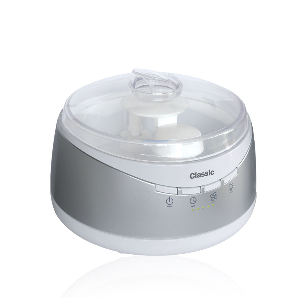 The Classic aromatherapy diffuser is the highest quality ultrasonic diffusers you can buy. It has multiple time settings and  mist output. It also has an on/off interior light inside a large capacity water tank.