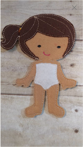 Flat Doll in White with Brown Hair
