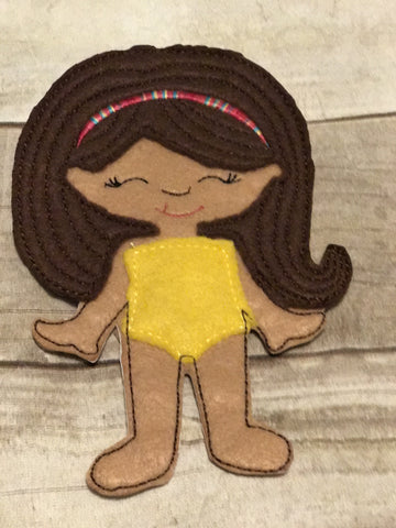 Flat Doll in Yellow with Brown Hair