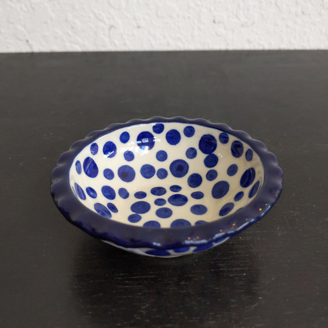 Blue polka Scalloped bowl