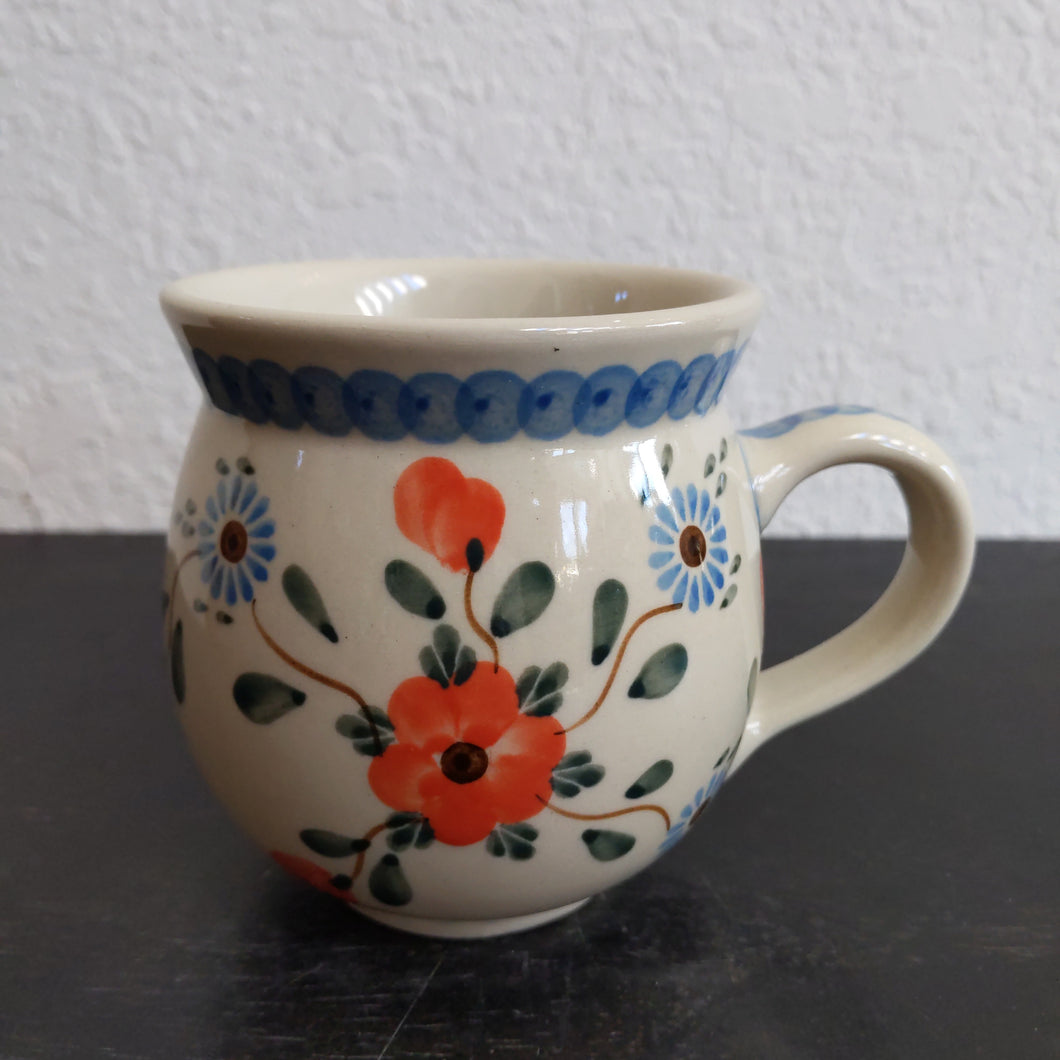 12 oz red and blue flower mug