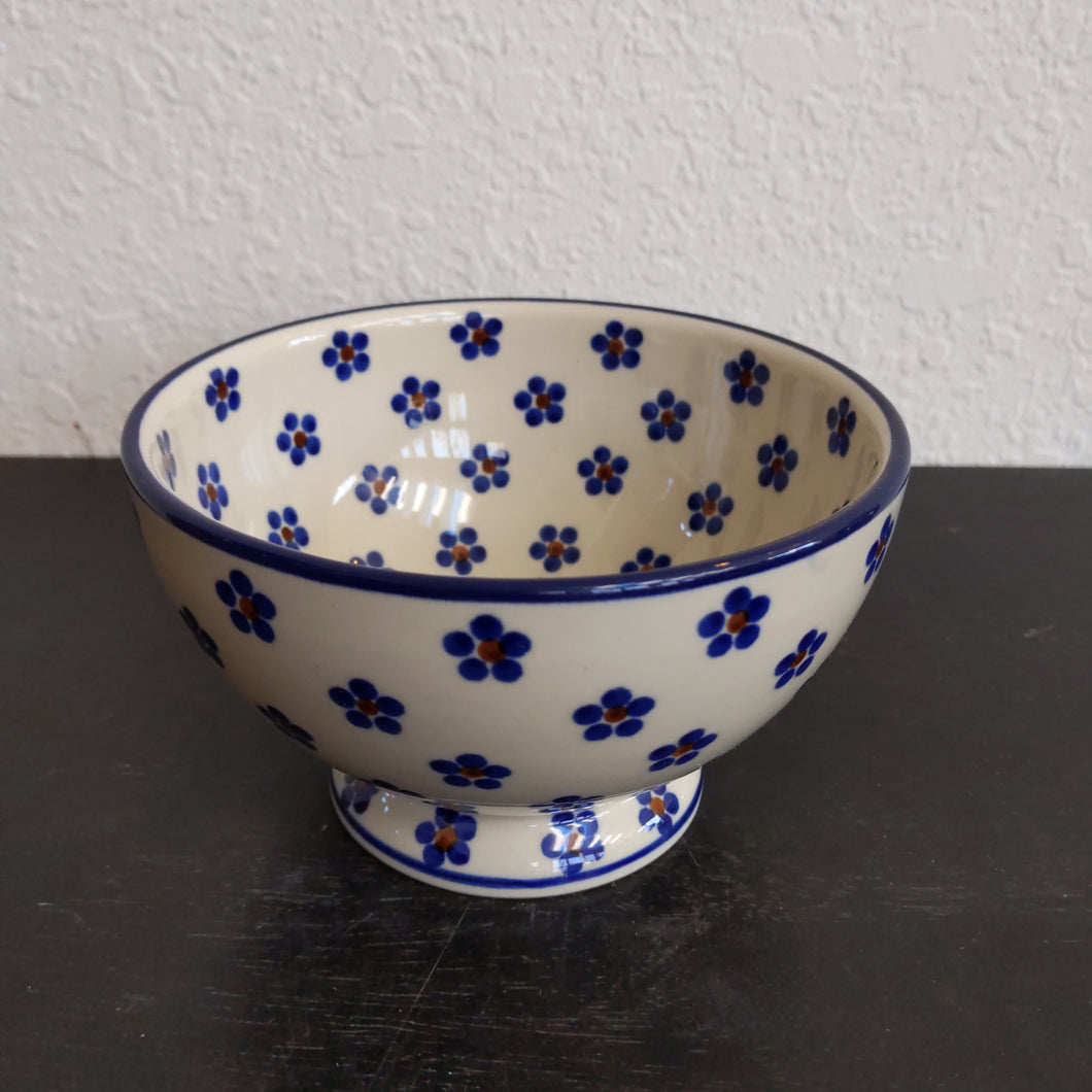 Small blue flower pedestal bowl