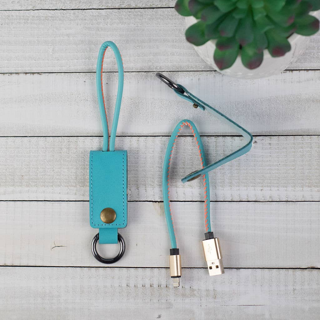 Teal Key Chain with iPhone Charging Cable