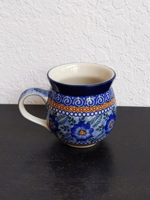 12oz unikat blue swirl and brown bubble mug