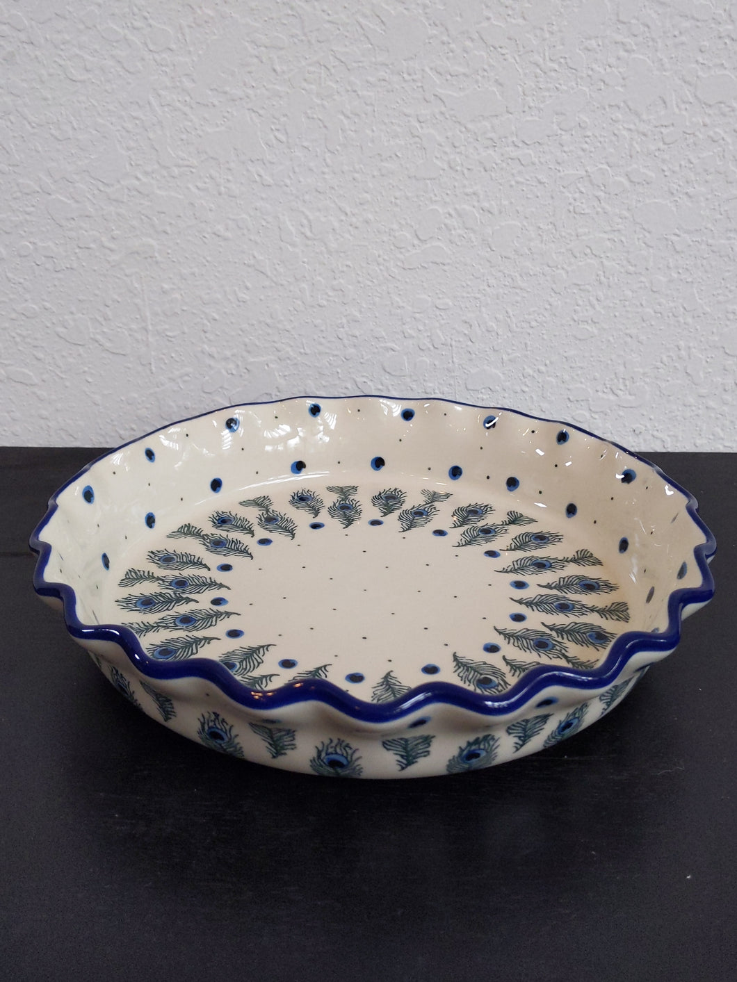 Peacock feather pie plate