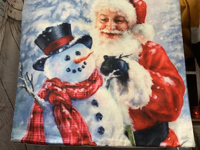 Santa and snowman pillow cover
