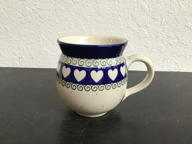 12oz white with heart rim bubble mug