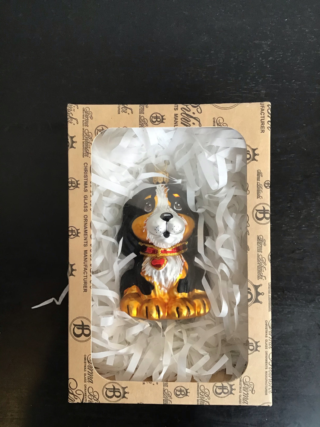 Dog glass blown ornament