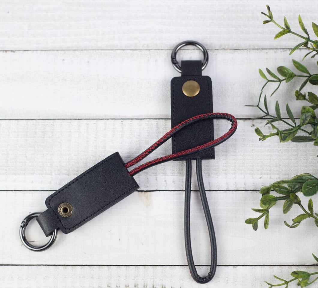 Black Key Chain with iPhone Charging Cable