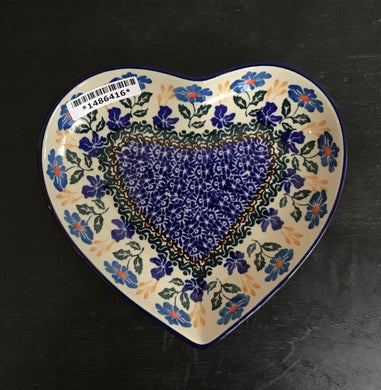 7in Heart Shaped Platter Blue and yellow Floral