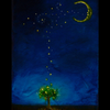 """Moon Kisses"" Canvas Hand Embellished Matted Painting-Print by Dr Franky Dolan"