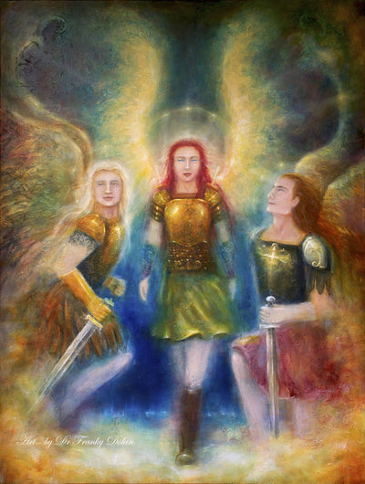 """Angel Love Warriors"" Canvas Hand Embellished Matted Painting-Print by Dr Franky Dolan"