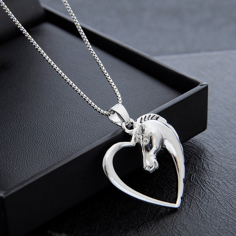 Hollow heart horse pendant necklace silver plated horse fans hollow heart horse pendant necklace silver plated mozeypictures Image collections