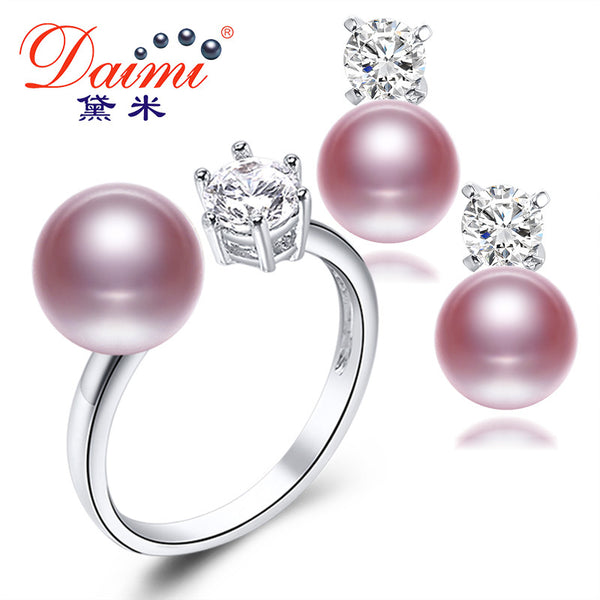 DAIMI Natural Purple Pink White Black Pearl Earrings Ring Sets, New Fashion Jewelry Natural Pearl Sets, Party Jewelry Sets