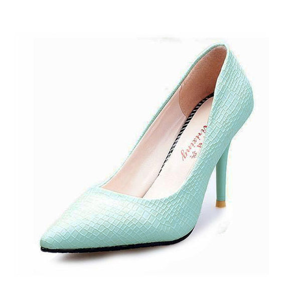 Hot Sale European Style Office Career Women Snake Skin Candy Color Pumps