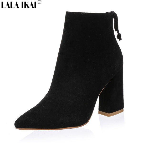 Women Boots Genuine Suede Pointed Toe Ankle Boots for Women Fur High Heels