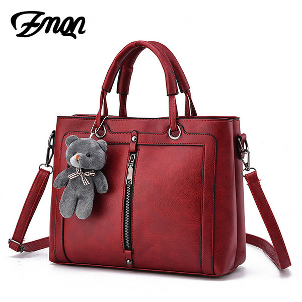Luxury Women Leather Handbag Red Retro Vintage Bag Designer