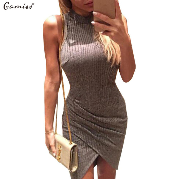 Gamiss Elegant Gray Sleeveless Knitted Casual Dress Women Evening Party Bodycon Dress GirlsLadies Spring Short Pencil Vestidos