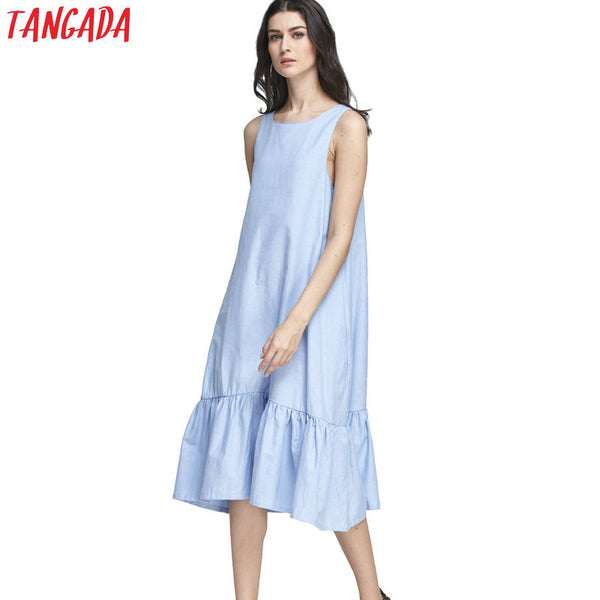 Tangada Fashion Women Long Tank Dress Cotton Blue Ruffles Beach Summer Sleeveless Loose Casual Brand Vestidos Mujer Sundress