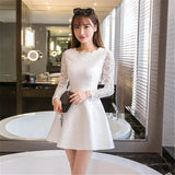 Spring Summer Autumn Women Lace Casual Dress Long Sleeve Korean Party Dresses Vestido White Black Pink Mini Dress Robe Dentelle