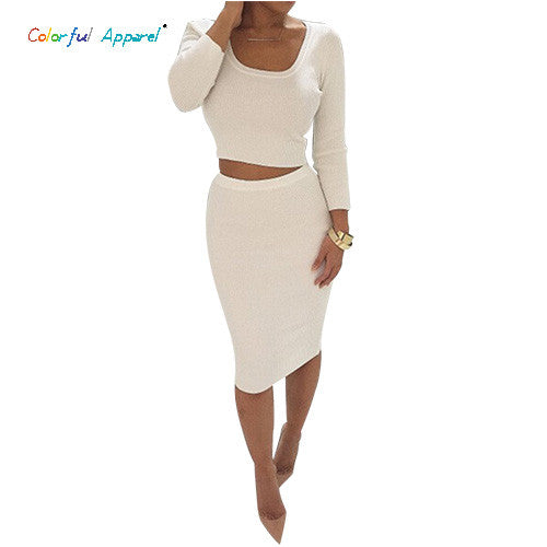 Colorful Apparel New Autumn Winter 2 Piece Set Women Long sleeve party dresses Sexy bandage dress women dress  CA70A