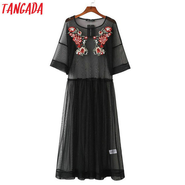 Tangada Floral Embroidery Mesh Dress Long Summer Beach Sexy Women Party Ukraine Fashion Black Vintage Sexy Boho Vestido Beach