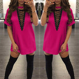 S-XXL Summer T Shirt Dress 2017 Women Deep V Neck Lace Up  Sexy Bodycon Bandage Party Dresses Casual T-Shirt Dress Vestidos
