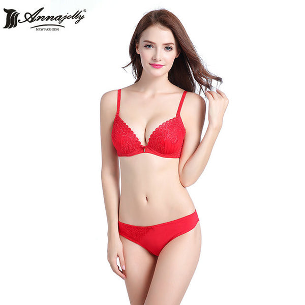 Annajolly Women Push Up Sexy Bra Sets Top Embroidery Bras And Panties Briefs Blue Red White Underwear Lingerie New Fashion U8385