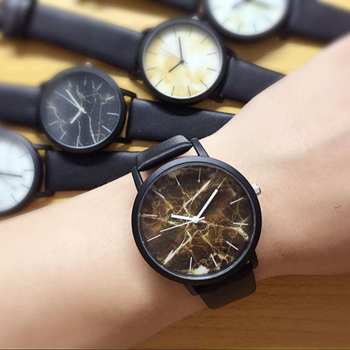 British style Marble Watches 2016 Hot Fashion Marbling Stripe Creative Quartz Watch Men Women Wristwatches Genuine Leather Clock