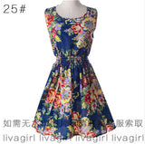 Summer Style Women Dress Casual Mini O-Neck Sleeveless Short A Line Dress Printed Party Evening 2017 Plus Size Elegant Dress