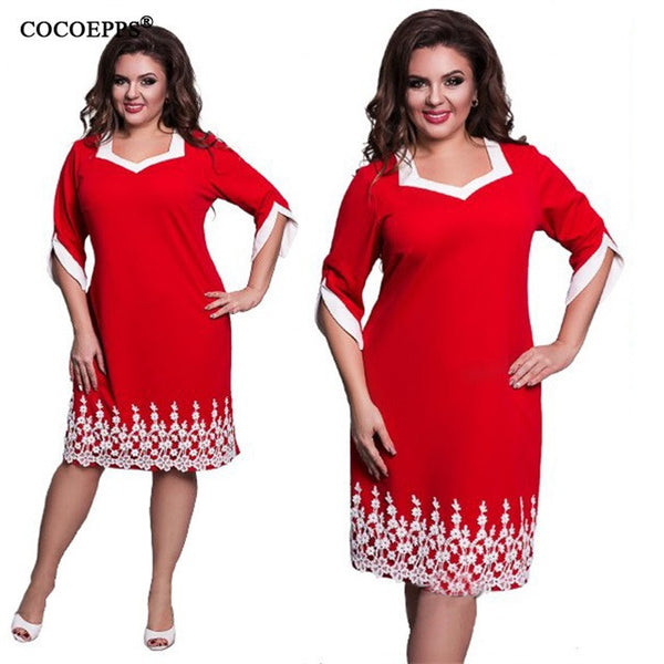 COCOEPPS 6XL 5XL Lace Patchwork Women Dress 2017 Summer Style Plus Size office Big Large Size Dress Casual Loose blue Dresses