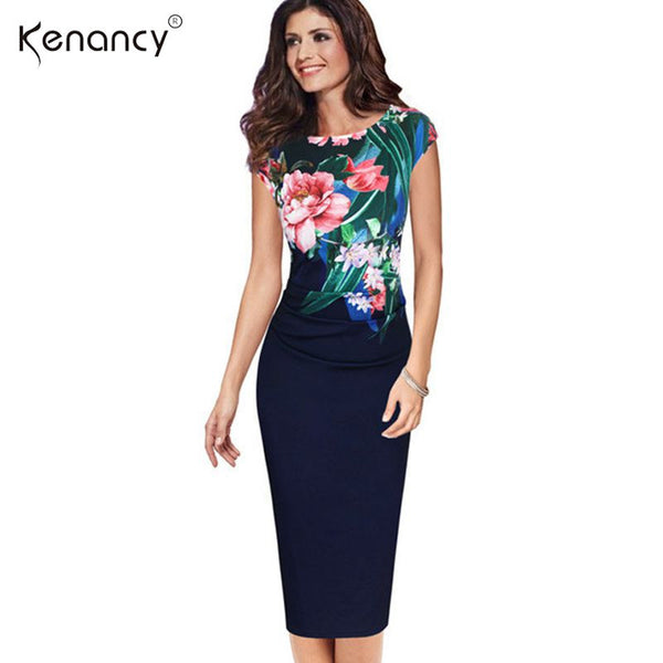 Kenancy S-5XL Elegant Women Plus size Dress Summer Sleeveless Floral Print  Casual Party Sheath Bodycon Dress Office Vestidos