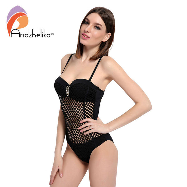 Andzhelika One Piece 2017 Swimsuit Women Sexy Mesh Swimwear Hollow Out Bodysuit Brazilian Bathing Suit Swim Suits Biquini AK5799