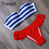 Sexy Ladies Bandeau Bikini Bathing suit Swimsuit Push Up Padded Striped Bikini Set Brazilian Biquini Beachwear