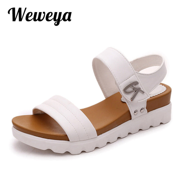 2017 Summer Gladiator Sandals Women Leather Flat Fashion