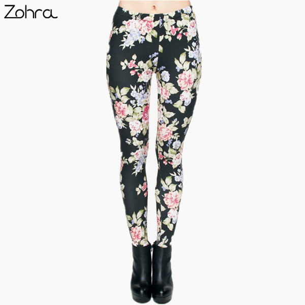 Zohra Hot Women 3D Graphic Full Print Fresh Flowers Leggings Sexy Fitness