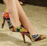 Sexy pointed toe ladies fashion flowers printed high heels women pumps shoes