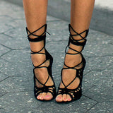 Women Pumps Brand Designer High Heels Cut Outs Lace Up Open Toe