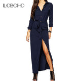 Women Long Sleeve Maxi Dress Spring 2017 New Fashion Collar Buttons Long Shirt Dresses Open Slit Women Casual Dress Green Blue
