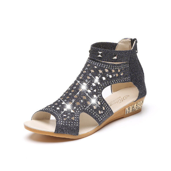 2017 Women Sandals Open Toe Ankle Boots Sandal Woman Crystal