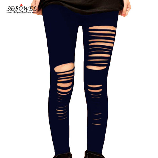 Basic Strech Black Leggings Holes Ripped Leggings Punk Rock Fashion