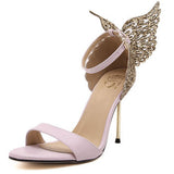 New women high heels sexy sandals rhinestone stereoscopic butterfly