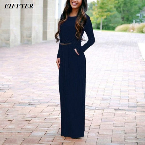 EIFFTER Women Long Dress New Casual Spring Autumn Ladies O-neck Long Sleeve Sashes Solid Maxi Dresses Vestidos 0068