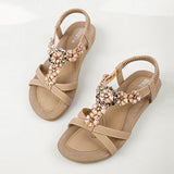 New Fashion Women Sandals 2017 Flower Crystal Summer Sandals Bohemia Casual Flat