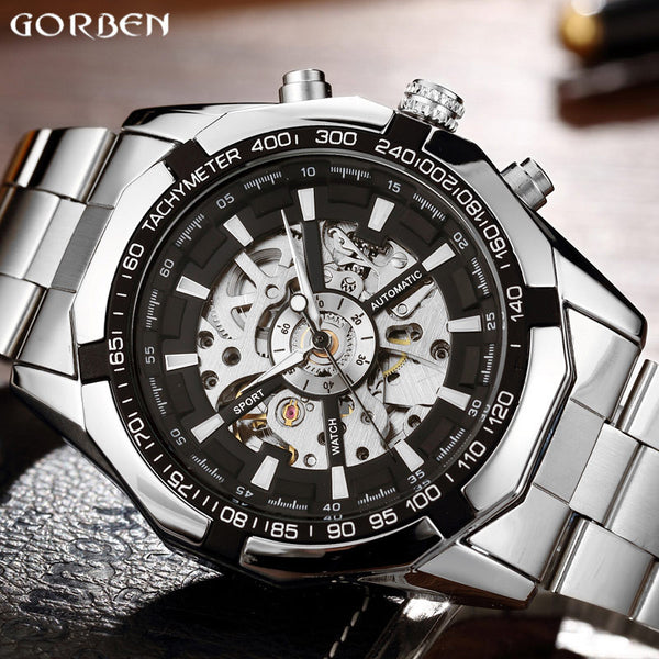 Hot Sale Luxury Luminous Automatic Mechanical Skeleton Dial Stainless Steel Band Wrist Watch Men Women Best Christmas Gift M106