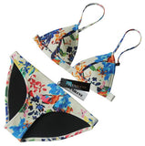 MUXILOVE 2017 New Design Floral Print Women 100% Real Neoprene Bikini Set Swimwear Swimsuit Bathing Suit Top & Bottom Biquini